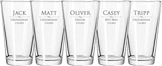 Custom Engraved Pint Glass - Personalized 16 oz Beer Glasses - Groomsmen Gifts, Customized Bulk Wedding Gift, Made in USA Heat Treated Bar Glassware