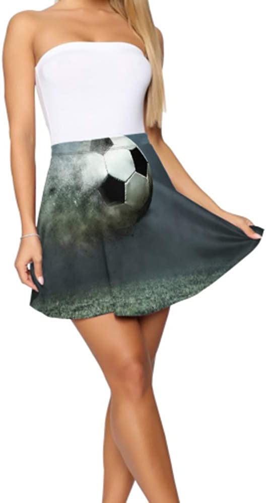 Liaosax Flared Skirts for Girls Beautiful Football Goals Flare Skirts Women's Basic Casual Flared High Waisted Skirt S-XL
