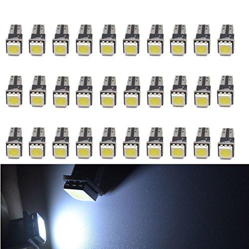 PolarLander 30Pcs T5 5050 1SMD Panneau de Bord Wedge LED Blanc Canbus Car Auto Jauge Light Intérieur Lampe de Table Lampe Lampes latérales DC 12V