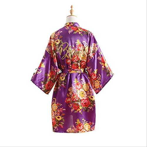 XFLOWR Dames Zomer Zijde Pioen Simulatie Robe Satijn Dame Korte Poplin Bruiloft Kimono Bruidsjurk Make-up Jurk Nachtkleding Jurk