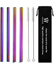 """NEWORLD Reusable Stainless Steel Wide Boba Drinking Straws Fat Straws Smoothie/Bubble Tea/Milkshakes Straws with 2 Cleaning Brush & Carry Bag 12mm/0.5"""" Wide(rainbow)"""