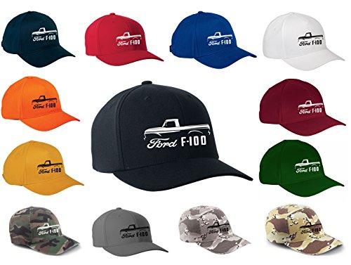 1961-66 Ford F100 Pickup Truck Classic Outline Design Flexfit hat Cap Large/XLarge Black