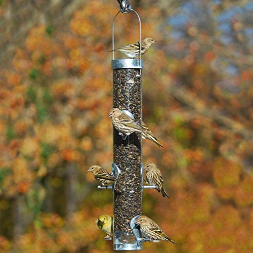 Droll Yankees Classic Sunflower or Mixed Seed Bird Feeder, Ring Pull Advantage, 16 Inches, 6 Ports, Silver