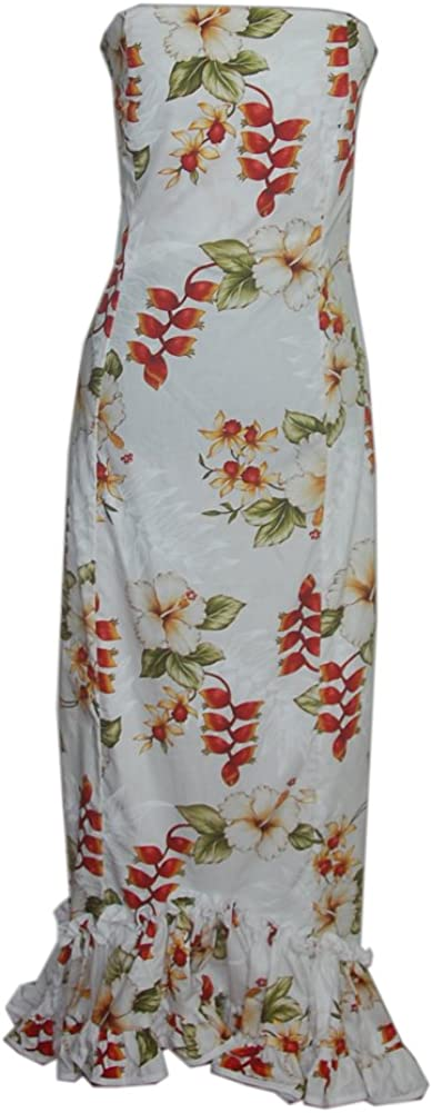 Jade Fashions Inc. Women Hawaiian Long Tube Top with Fish Tail Heliconia White Dress
