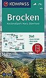 KOMPASS Wanderkarte Brocken, Nationalpark Harz, Oberharz 1:25T: 3in1 Wanderkarte 1:25000 mit Aktiv Guide inklusive Karte zur offline Verwendung in der ... (KOMPASS-Wanderkarten, Band 455) - KOMPASS-Karten GmbH