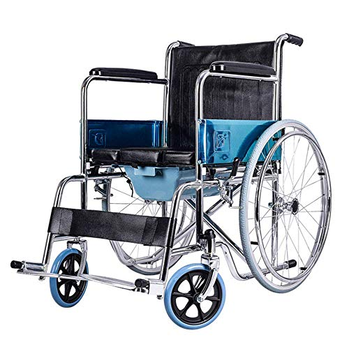 Wheelchair Wheelchair Folding Elderly Trolley Portable Multi-Function Leather Cushion Elderly Scooter with Multi-Function Toilet Size -63X76X90Cm Swing Away Footrests hghfdgfdghg