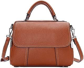 Fine Bag/Handbag Leather Handbag Female Wild Shoulder Bag Exquisite Fashion Messenger Bag Portable (Color : Brown, Size : OneSize)