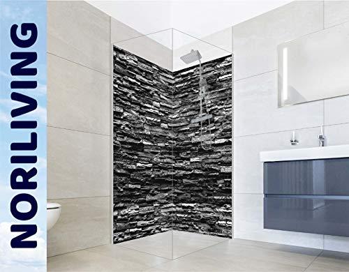 NORILIVING Eck Duschrückwand (2-teilig) - Fugenlose Badezimmer Wandverkleidung aus Alu-Verbundplatten mit kostenlosem Zuschnitt auf Ihr Wunschformat (Motiv: Steinverblender Schiefer schwarz, Muster)