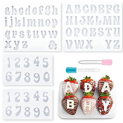 4 stampi in silicone a forma di lettere e numeri per cioccolato, con 2 contagocce, fai da te, decorazioni per dolci, cioccolato, cubetti di ghiaccio (trasparente)