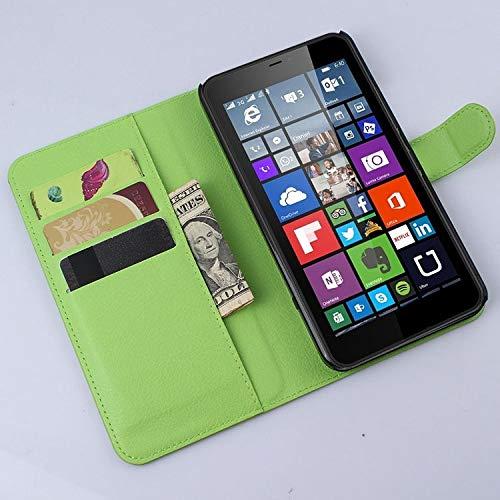 tinyue® Handyhülle für Microsoft Lumia 640 XL Dual-SIM, PU-Ledertasche Flip Case Halterung, mit Kartenfach, Magnetschnalle Litschi Textur Leder Handy Hülle Stand Feature, Grün