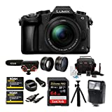 Panasonic LUMIX G85 Mirrorless Camera with 12-60mm Lens, Koah Microphone, Accessory Kit, Battery and Dual Charger, 64GB SD Card, Tripod, 2-Piece Lens Set, Digital Flash and HDMI Cable Bundle (9 items)