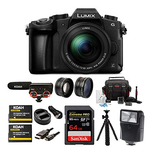 Panasonic LUMIX G85 Mirrorless Camera with 12-60mm Lens, Rode Microphone, Accessory Kit, Battery and Dual Charger, 64GB SD Card, Tripod, 2-Piece Lens Set, Digital Flash and HDMI Cable Bundle (9 items)