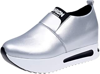 Qootent New Women Platform Slip On Loafers Casual Wedge Shoes Leisure Sneakers