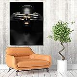 KWzEQ Modèle féminin Noir Moderne sur Affiche d'art Mural en Toile et Salon décoration,Peinture sans Cadre,30x37cm