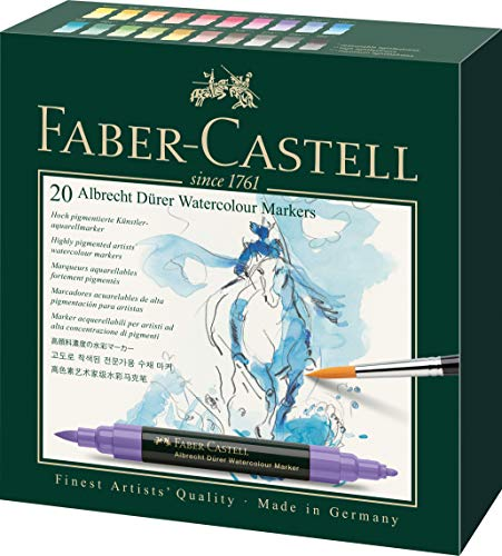 Faber-Castell 160320 Aquarellmarker Albrecht Dürer mit Doppelspitze für flächigen und präzisen Farbauftrag, 20er Etui, bunt