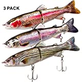 "ods lure Fishing Lure Kit with Treble Hooks 5"" Glide Bait Jointed Swimbait Lures for Bass Catfish Pike Musky Trout"
