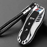 F-MINGNIAN-SPRING Funda para llave de coche, aleación de zinc, para Porsche Boxster Cayman 911 Panamera Cayenne Macan B gris (color C: plata)