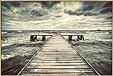 Kunstloft fotografía artística enmarcada 'Bridge at Storm' 90x60cm | fotografía contemporánea Cubierta por Vidrio | Puente Mar Gris Beige | fotografía artística con Marco de Aluminio