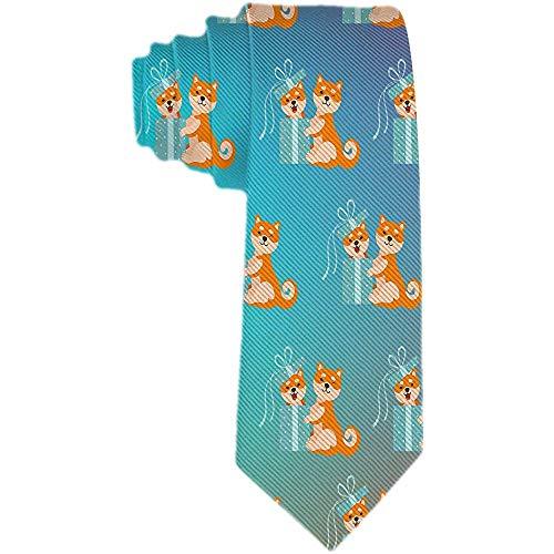 Herren Krawatte aus Seide aus Polyester mit Krawatte aus Stoff für Neugeborene Zwei niedliche Hunde Shiba Inu ein sitzender Hund in Krawatten Geschenk