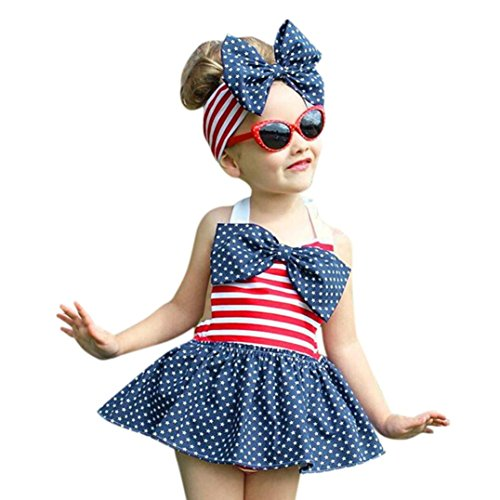 Vovotrade kleine kinderen baby meisjes ster en strepen speelpak jurk hoofdband kleding outfit set voor 1 tot 5 jaar oud (maat: 3 jaar oud)
