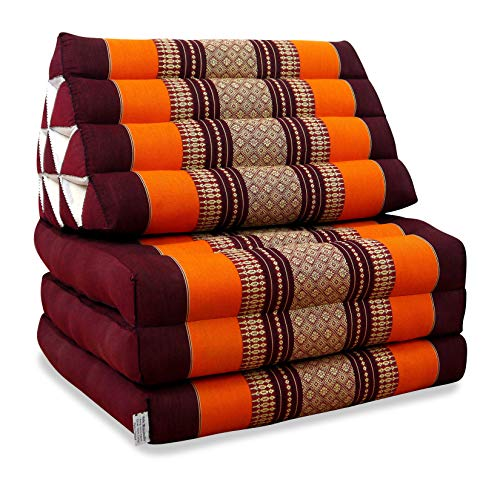 livasia Thaikissen mit 3 Auflagen, Kapok Dreieckskissen, Sitzkissen, Liegematte, Thaimatte (orange)