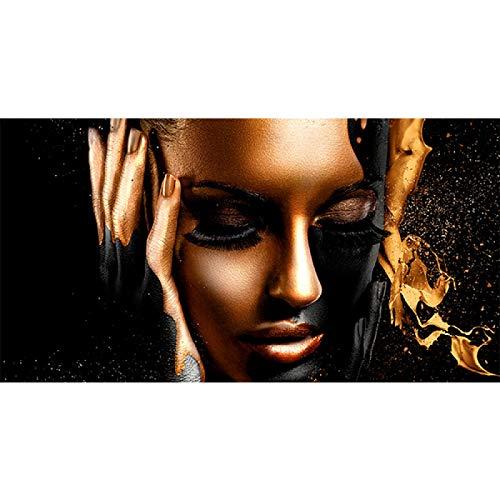 ZHFFYY Pintura al óleo de Mujer Africana de Oro Negro sobre Lienzo, Carteles e Impresiones, Cuadros de Pared para decoración de Sala de Estar, 50x100cm sin Marco