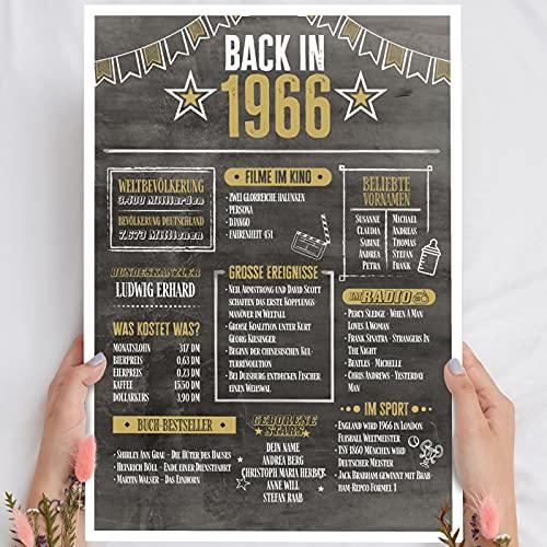 Geschenk 55 Geburtstag - Back in 1966 Holzbild - personalisierbar zum Hinstellen/Aufhängen optional beleuchtet, 55 Geburtstag Frauen & Männer - Wand-Bild Aufsteller Deko - persönliches Geschenk