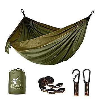 Fieleer Hamac Ultra-léger de Voyage Camping | avec Mousquetons de qualité & Sangles 2,5 cm de Large avec 6 Élingues | 275x140cm, Charge Max 300kg, Nylon de Parachute | pour Randonnée Excursion Jardin