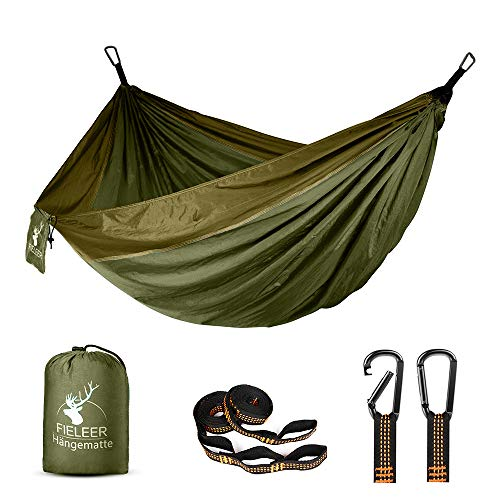 Hamaca ultraligera Fieleer para exteriores, de seda de paracaídas, con correas y mosquetones resistentes, para viaje, camping, senderismo, jardín o playa