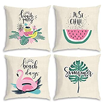 QoGoer Summer Throw Pillow Covers 18 x 18 Set of 4 Hello Summer Beach Pineapple Flamingo Decorative Pillow Case Cotton Linen Cushion Covers for Home Couch Farm Bedding  Pink
