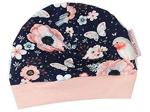 Kleine Könige Bonnet pour bébé Fille avec Fonction de réveil, modèle Oiseau Marin Altrosa – Certifié Ökotex 100 – Tailles 50-128 - Bleu - 50/56 cm