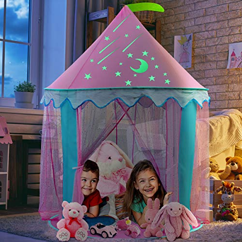 iBaseToy Princess Tent for Girls - Kids Castle Play Tent with Glow in The Dark Stickers and Carrying Bag - Pink Pop Up Tent Playhouse for Children Toddlers Indoor and Outdoor Games, 41'' x 55'' (DxH)
