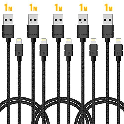 Puridea Lightning Cable Paquete de 5 (3ft) Cable de Carga de iPhone...