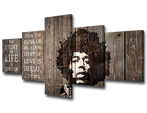 Jimi Hendrix 5 Piece Canvas Quotes Wall Art Painting