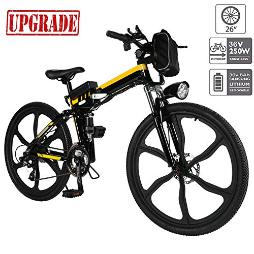 Aceshin 26 inch Electric Bike Folding Electric Mountain Bike with Removable 36V 8AH Lithium-Ion Battery 250W Motor 21 Speed Gear (Yellow)