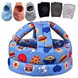 Baby Safety Helmet, Infant Baby Head Protector with 3 Pairs Baby Knee Pads for Crawling & 3 Pairs Baby Socks, Head Cushion Bumper Bonnet, Soft Headguard for Toddler Learning to Walk, Blue Ball