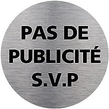 Adhésif de Porte Stop PUB Pas de publicité - Aspect Plaque Aluminium Brossé - Diamètre 83 mm
