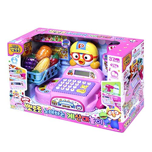 PORORO Supermarket Toy Playset, Pretend Play of Cash Register, Pretend Play Food Toys Pretend Grocery Toy for Kids, Cashier with Play Money, Best Gift for Girls Toddler, Korean Toy