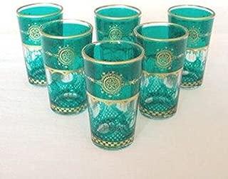 Moroccan Touareg Tea Glasses Set of 6 (Turquoise)