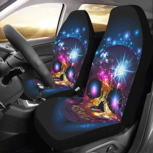 Artsadd Skull with Mystic Backdrop Fabric Car Seat Covers (Set of 2) Best Automobile Seats Protector