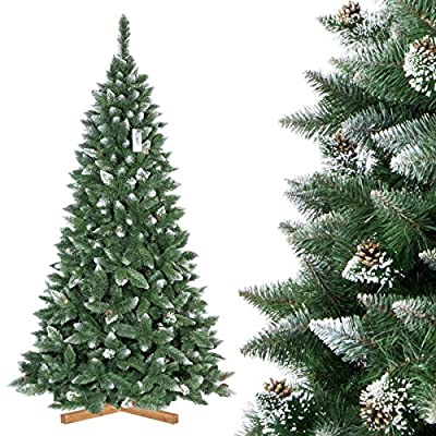 FAIRYTREES artificial Christmas tree PINE, natural snowed, PVC material, real cones, metal stand,