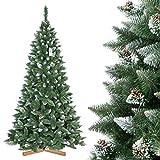 FairyTrees Árbol de Navidad Artificial, Pino Verde Natural Cubierto de Nieve, PVC, con piñas Naturales, Soporte de Madera, 250cm, FT04-250