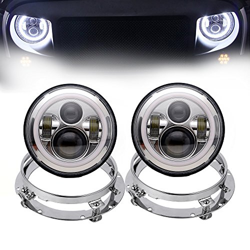 Phares LED ronds 17,8 cm 45 W Daymaker Faisceau Hi/Lo avec anneau Angel Eyes blanc DRL + kits de montage de 17,8 cm pour voiture (4 pièces, chromé)
