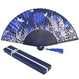 baotongle Abanico de mano de encaje de bambú con caja de regalo para ocasiones de verano, bodas al aire libre, fiestas de jardín