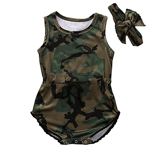 HBER 0-24M Baby Toddler Boys Girls Camo Romper Summer Clothes Tank Top Jumpsuit Outfits with Headband