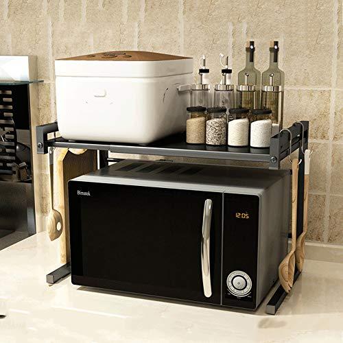 E-MANIS Metall Mikrowelle Rack Toaster Stand Regal erweiterbar Küche liefert Geschirr Lagerung Zähler Space Saver Cabinet Organizer Spice Holder mit 3 Haken,25 kg Gewicht Kapazität schwarz Edelstahl