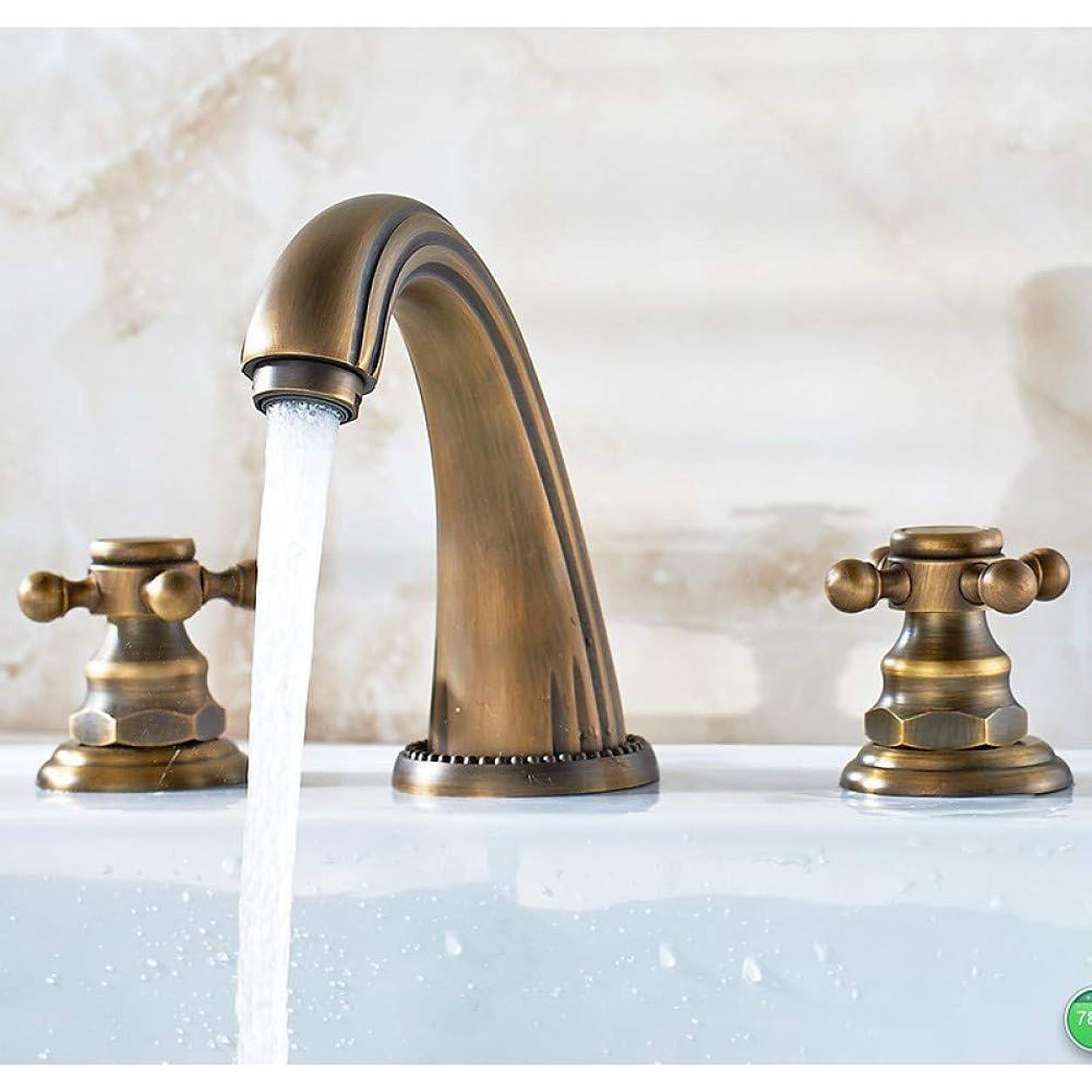 カリング敏感な急降下キッチンバスルーム蛇口デッキはアンティーク真鍮デュアルハンドルミキサータップ浴室容器シンク盆地の蛇口をマウント