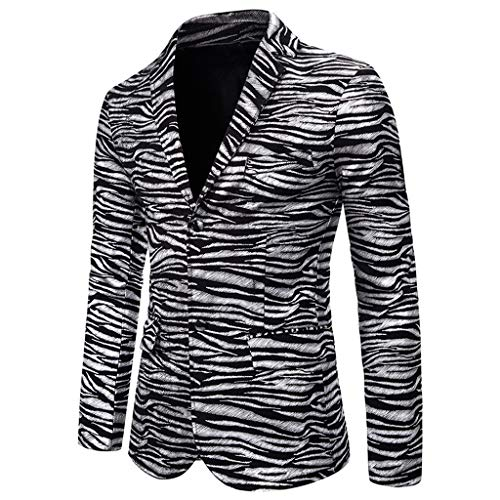 Tefamore Chaqueta de Traje Blazer Negocios A Cuadros para Hombre Formal Casual Slim Fit Trajes de Vestir para Boda Fiesta Traje al Estilo Occidental Abrigo Tops (Plata,XXL)
