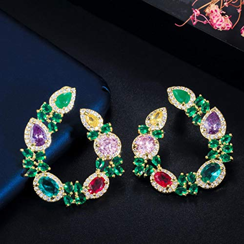SALAN Circonitas Diseño Único De Hoja De Flor Elegante Chapado En Oro Amarillo Grandes Pendientes De Esmeralda Verde Redondos para Mujer Regalo De Joyería
