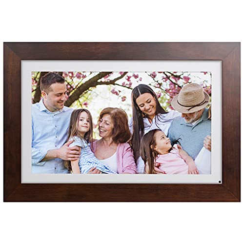 """Brookstone PhotoShare Friends and Family Smart Frame, Digital Picture, WiFi, HD, Family Photo Album Slideshow, Tabletop End Table, Home Décor, 14"""", Espresso"""